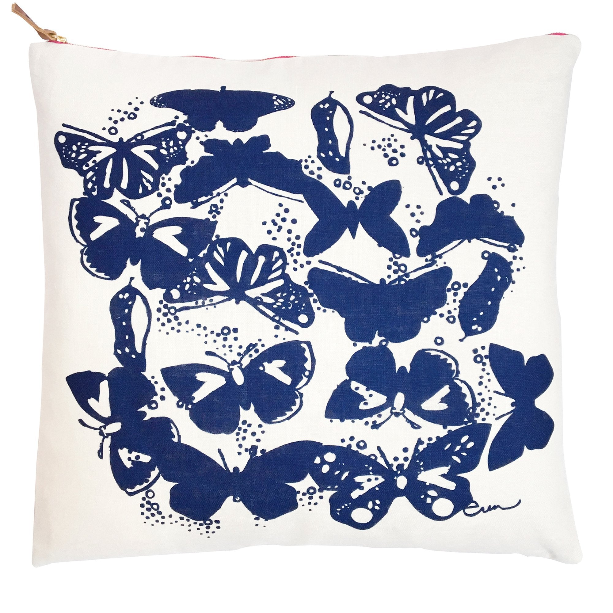 BUTTERFLIES NAVY LINEN PILLOW COVER