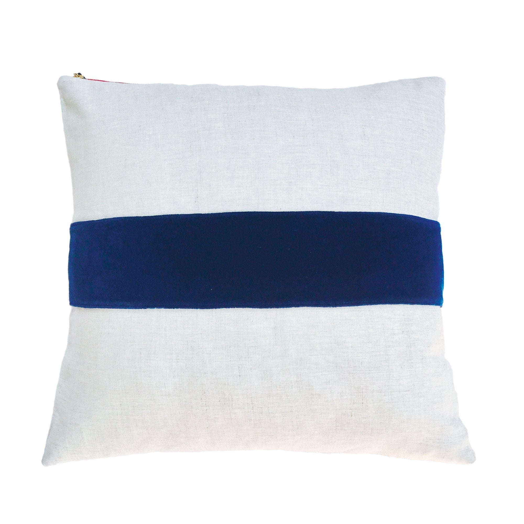 NAVY VELVET BAND LINEN PILLOW