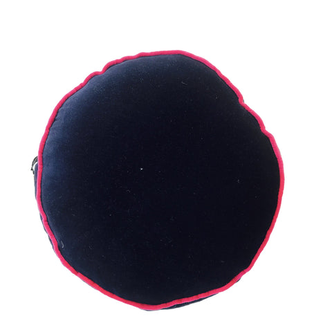 NAVY VELVET ROUND PILLOW