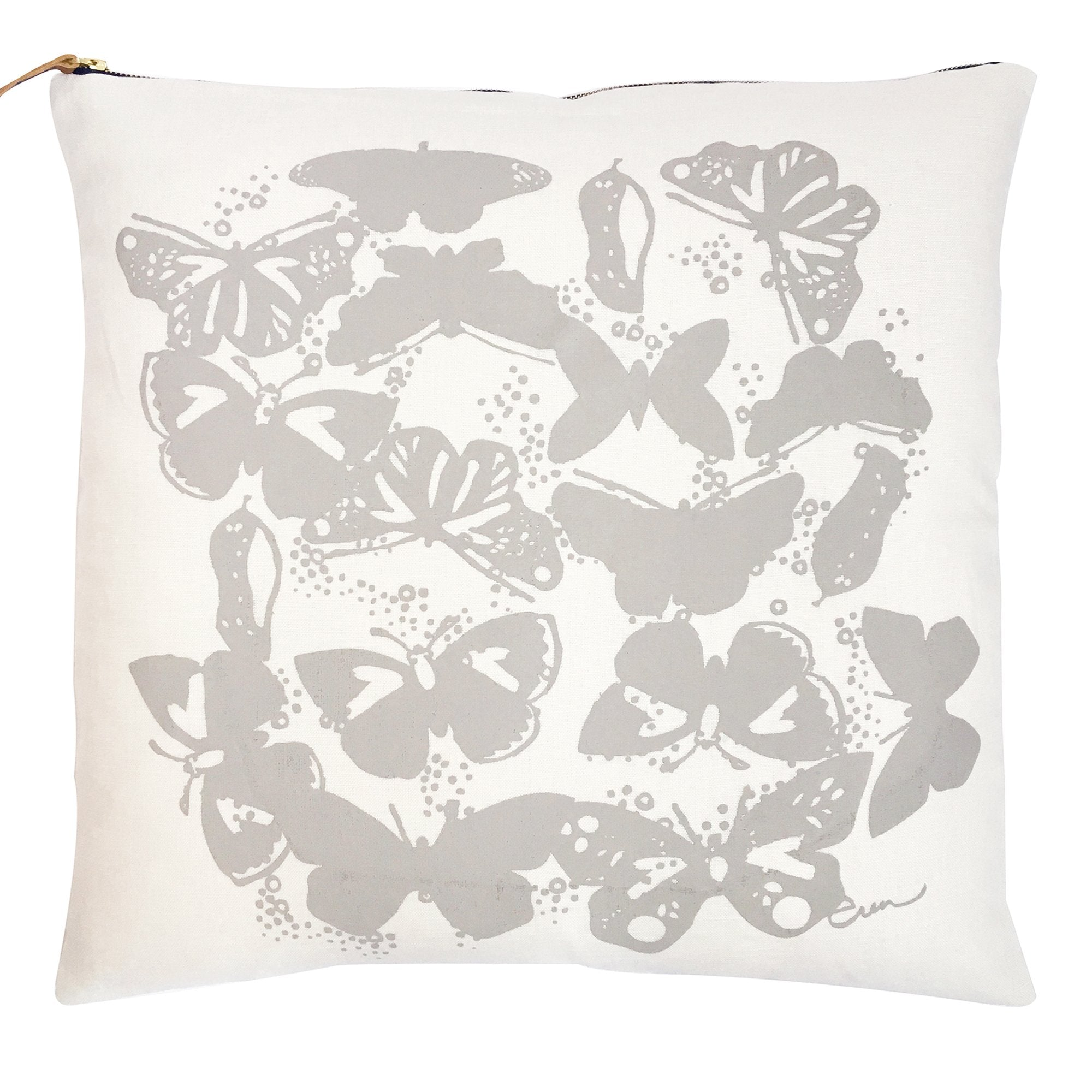 OATMEAL BUTTERFLIES LINEN PILLOW