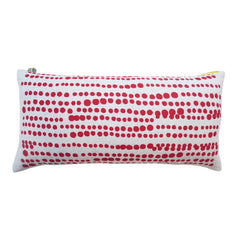 RED HILARY LINEN PILLOW ON OATMEAL