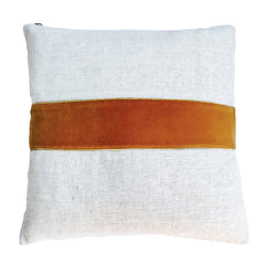 SIENNA VELVET BAND LINEN PILLOW COVER