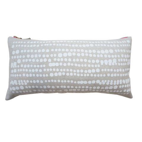 WHITE HILARY LINEN PILLOW ON OATMEAL