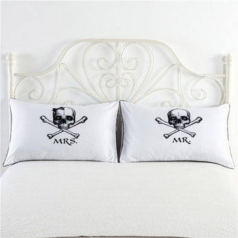 Mr & Mrs Skull Pillowcase Set