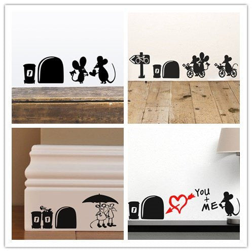 Funny Mouse Hole Wall Decals
