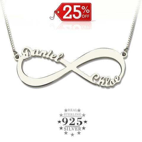 Couple's Name's Infinity 925 Silver Women Necklace - Passion Effect