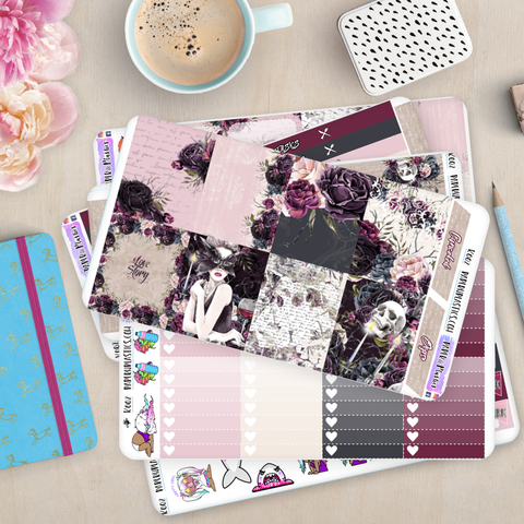[K002] Dark Love Story Erin Condren Vertical Weekly Kit