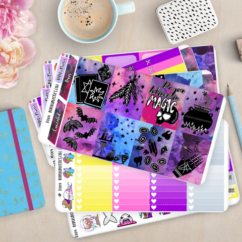 [K004] Dark Magic Erin Condren Weekly Vertical Kit