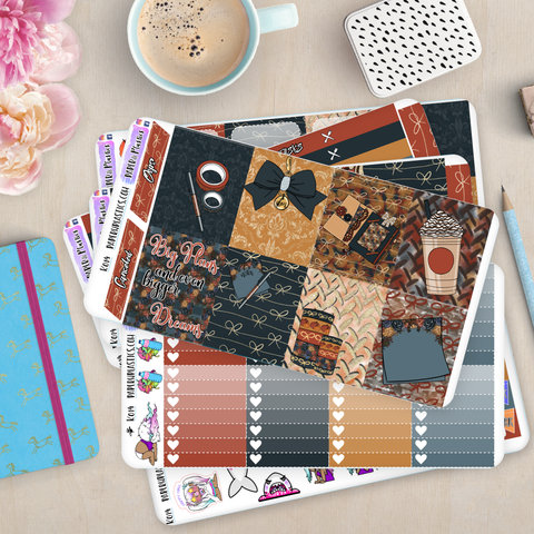 [K014] Autumn Plans Erin Condren Weekly Vertical Kit