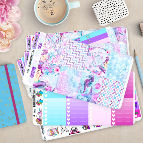 [K016] Mermaid Fantasy Vertical Weekly Kit Erin Condren