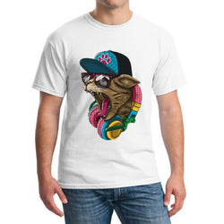 Crazy DJ Cat T-shirt white