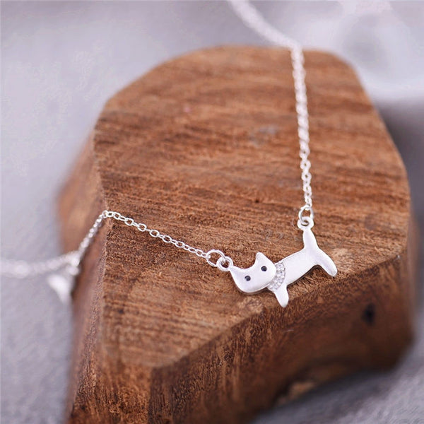 Cat Silver Pendant Necklace