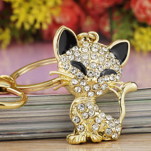 Cute Cat Crystal Key Ring