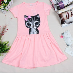 Cat print Summer Dress pink