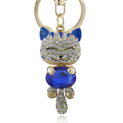 Lucky Smile Cat Key Chain blue