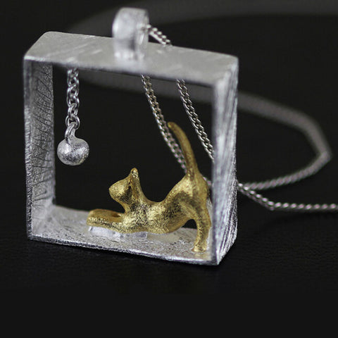 Cat Pendant Silver Necklace Gold Cat