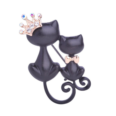 Black Cats Crystal Crown Brooch