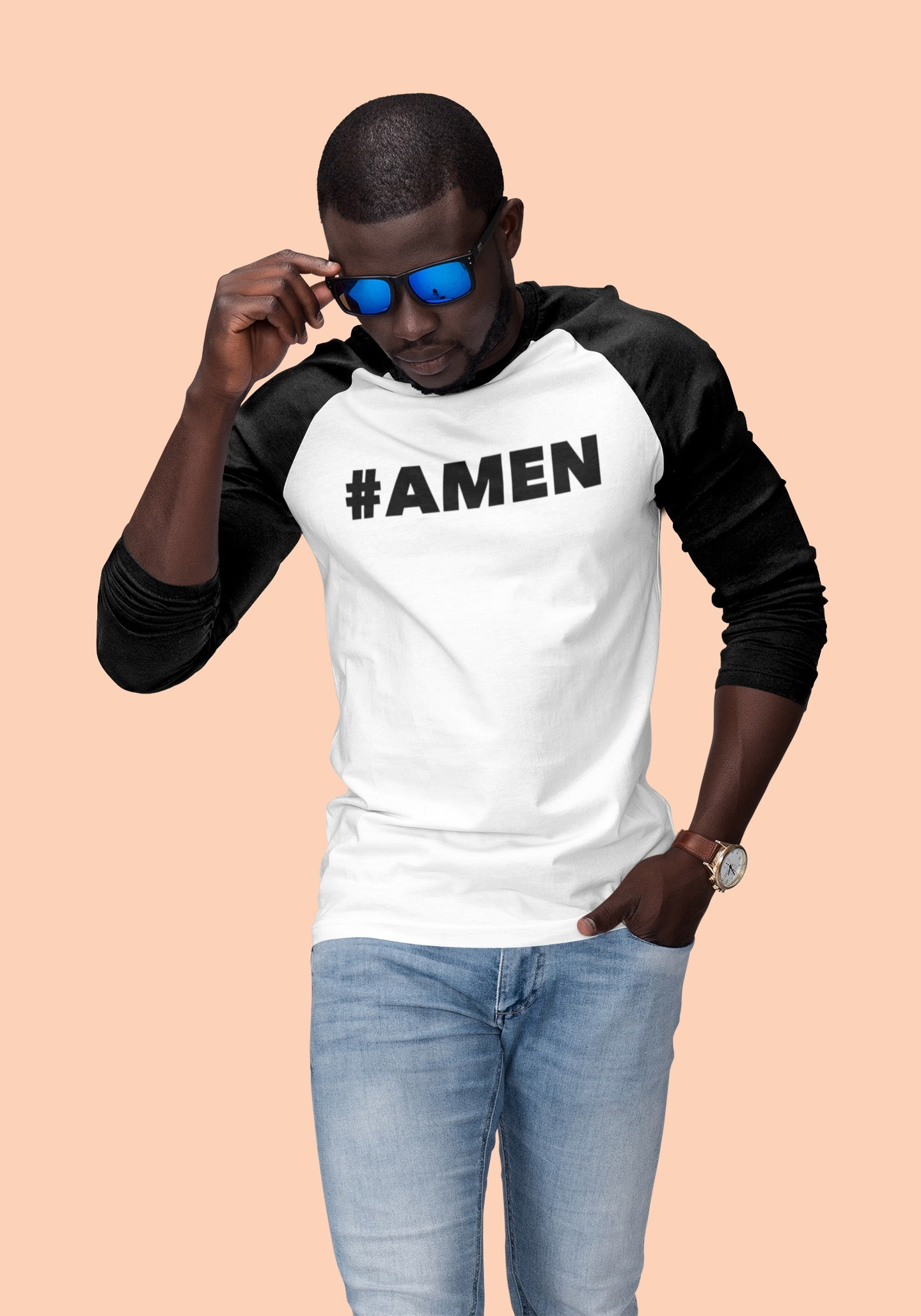 AMEN - Classic Baseball Raglan Shirt - Beats 4 Hope