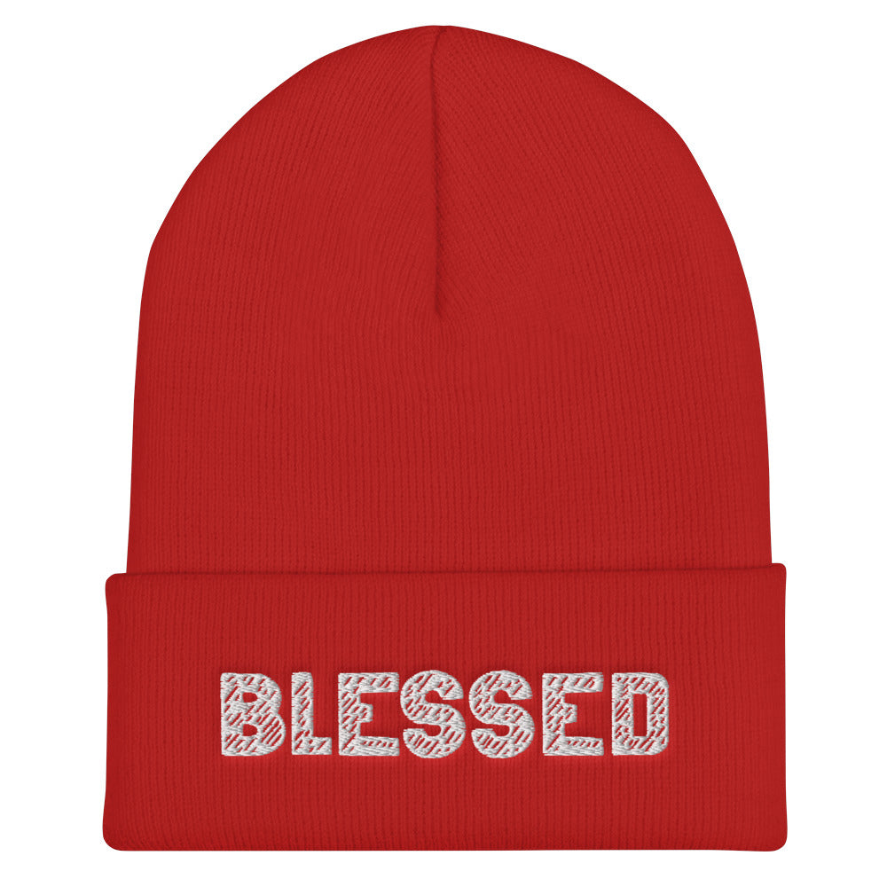 BLESSED Embroidered Cuffed Beanie