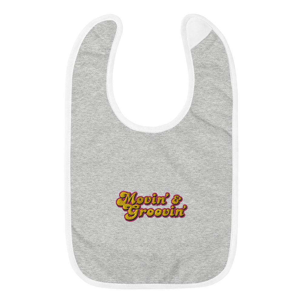 MOVIN' AND GROOVIN' - Embroidered Baby Bib - Beats 4 Hope