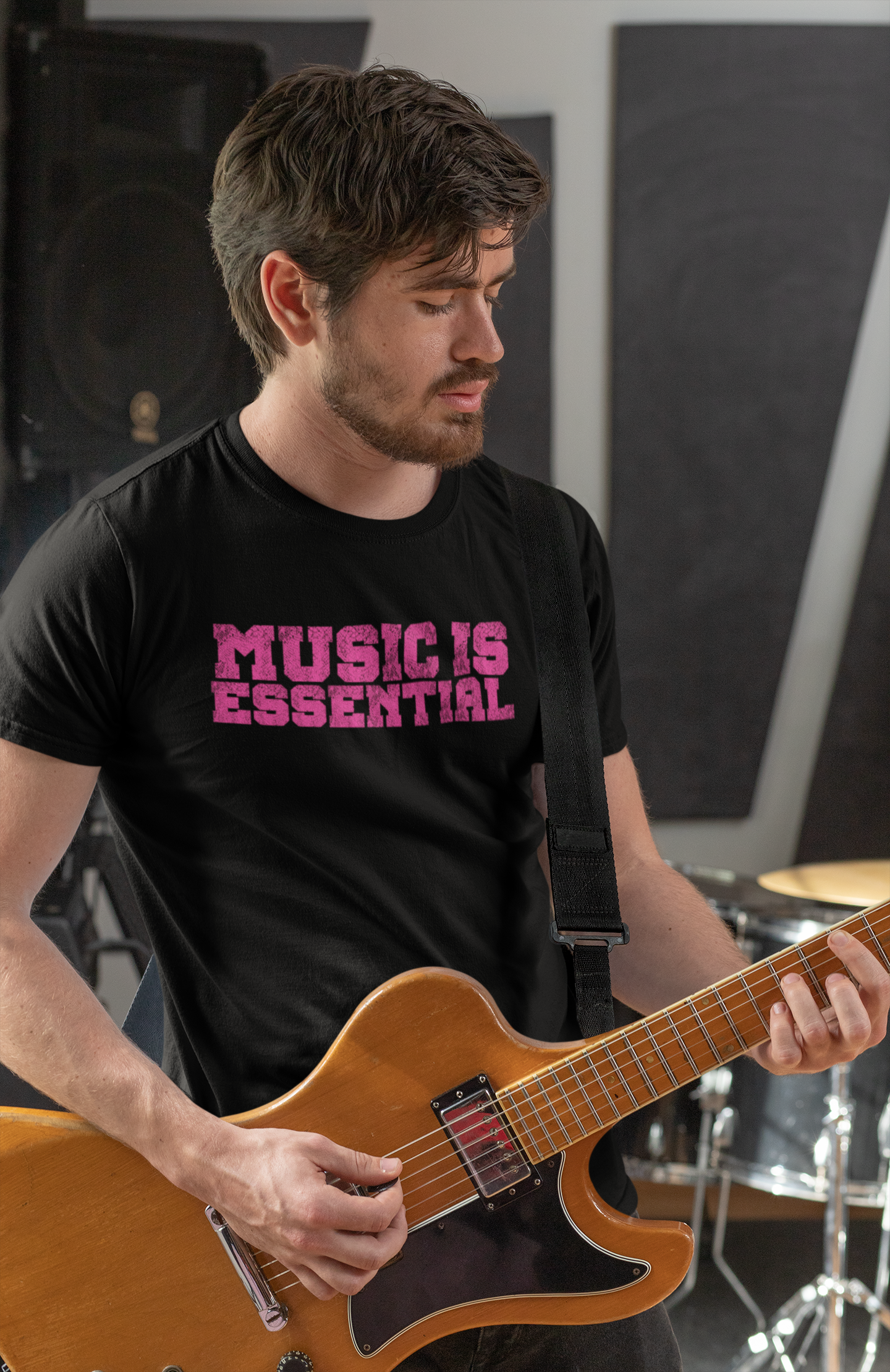 MUSIC IS ESSENTIAL PINK Men's X T-Shirt - Beats 4 Hope