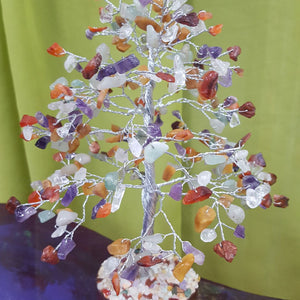 Mixed Crystal Tree - Medium Silver