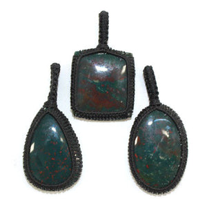 Bloodstone Thread Pendant - 1pc