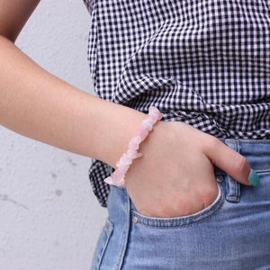 Chunky Rose Quartz Chip Bracelet