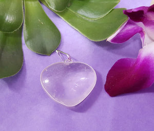 Clear Quartz Metal Heart Pendant