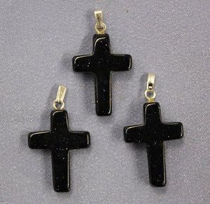 Cross Blue Sandstone  Pendant 1pc