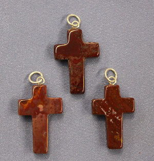 Cross Red Jasper Pendant 1pc