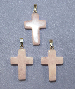 Cross Rose Quartz  Pendant 1 pc