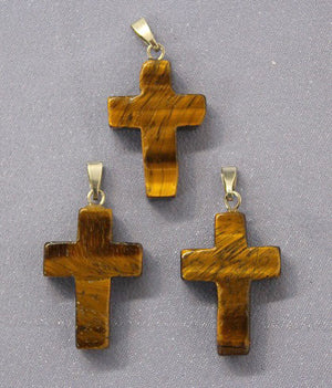 Cross Tigers Eye  Pendant 1pc