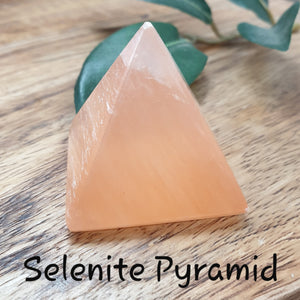 Peach Selenite Pyramid