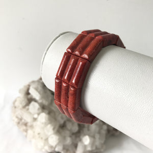 Red Coral Square Bead Bracelet