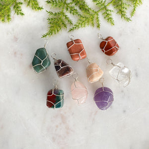 Tumbled Stone Pendant- Thin Wire