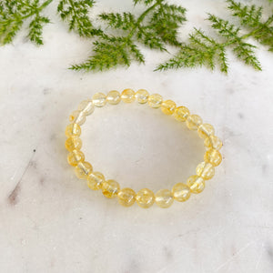 Yellow Quartz Bead Bracelet 8mm