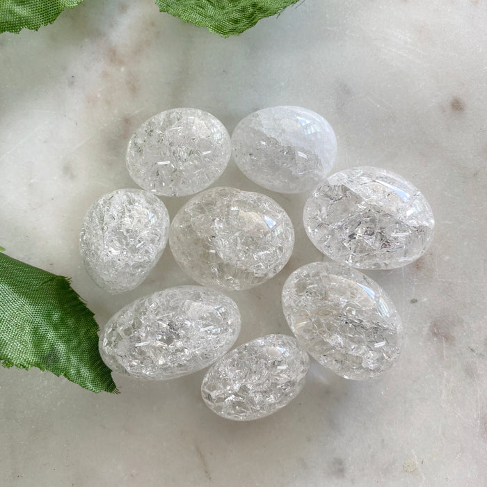 Clear Crackle Quartz Tumbled Stones