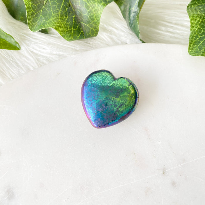 Pyrite Aura Heart 1pc