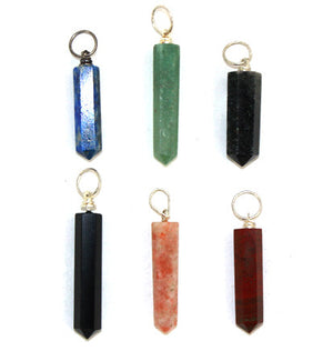 Crystal Point Pendants 6pc