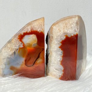 Crystal Agate Bookends- Orange/Brown