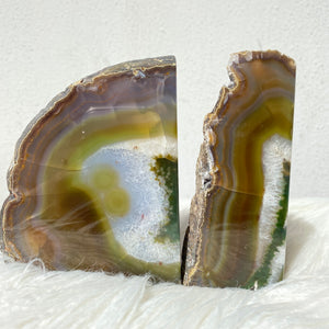 Crystal Agate Bookends- Green