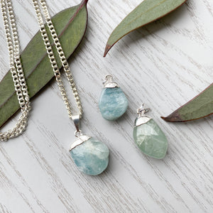 Aquamarine Tumbled Stone Pendant- 1pc