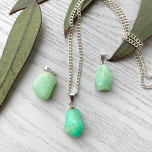 Chrysoprase Tumbled Stone Pendant- 1pc