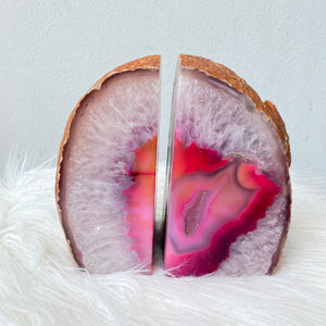 Crystal Agate Bookends- Pink