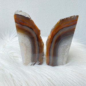 Crystal Agate Bookends- Brown