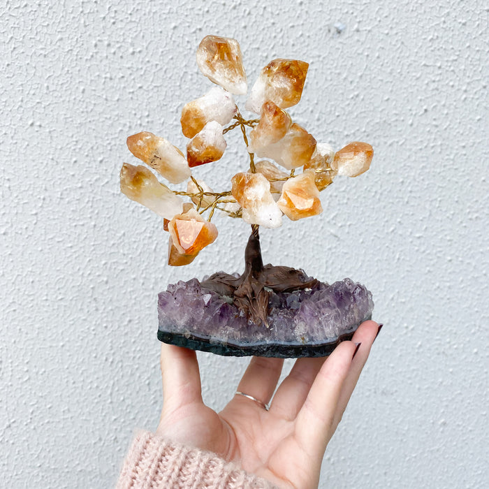 Citrine Points Bonsai Tree -Small