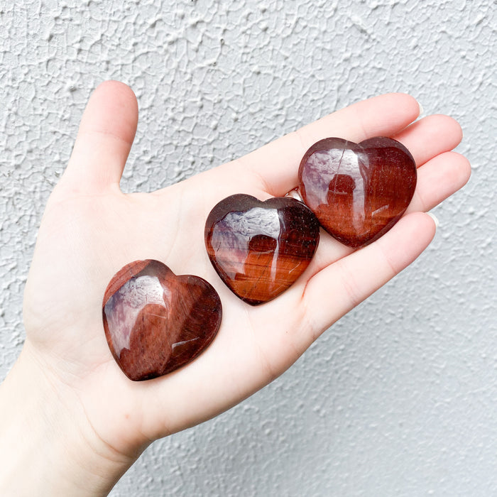Red Tigers Eye Heart- 1pc