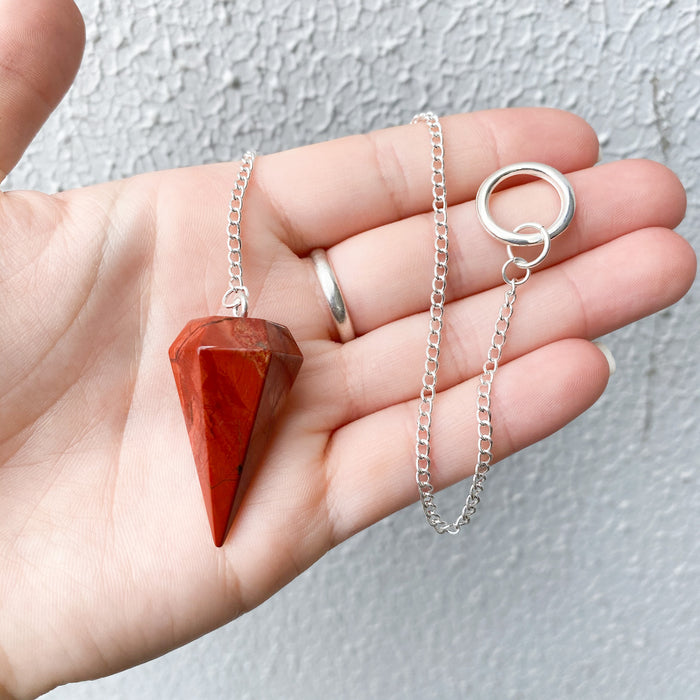 Red Jasper Faceted Pendulum- 1pc
