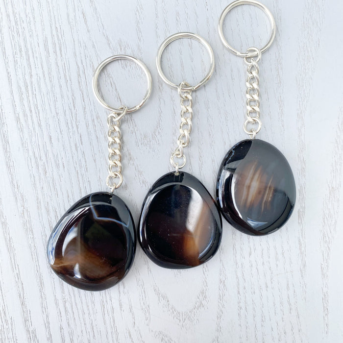 Black Agate Key Ring- 1pc